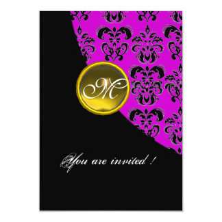 BLACK AND PURPLE DAMASK MONOGRAM,yellow topaz Card