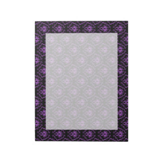 Black and Purple Damask Pattern. Gothic. Memo Notepads