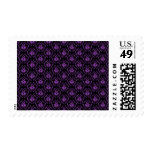 Black and Purple Damask Pattern. Gothic. Postage Stamps