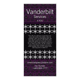 Black and Purple Damask  Rack Card