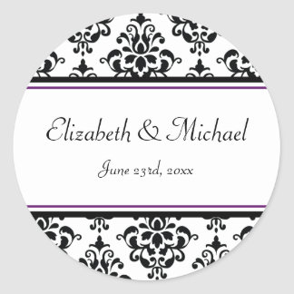 Black and Purple Damask Round Wedding Favor Label
