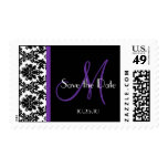 Black and Purple Damask Save the Date Postage