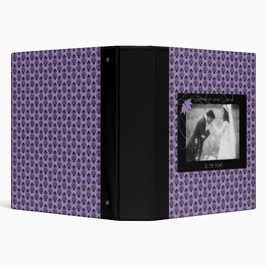 Black and Purple Damask Wedding Album 3 Ring Binder
