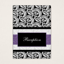 Black and Purple Damask Wedding Business Card