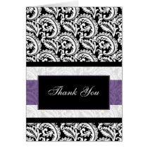 Black and Purple Damask Wedding Card