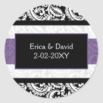 Black and Purple Damask Wedding Classic Round Sticker