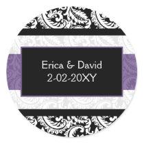 Black and Purple Damask Wedding Classic Round Sticker