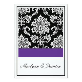 Black and Purple Damask Wedding Invitation