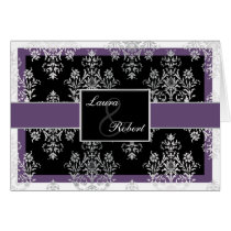 Black And Purple Damask Wedding Invitations