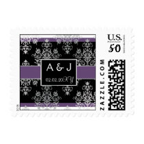 Black And Purple Damask Wedding Invitations Postage