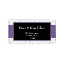Black and Purple Damask Wedding Label