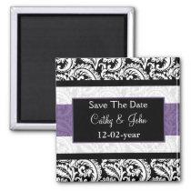 Black and Purple Damask Wedding Magnet
