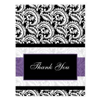Black and Purple Damask Wedding Postcard