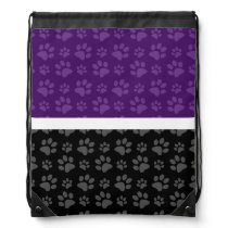 Black and purple dog paw print drawstring backpack