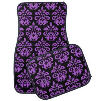 Black and purple elegant damask pattern custom car mat