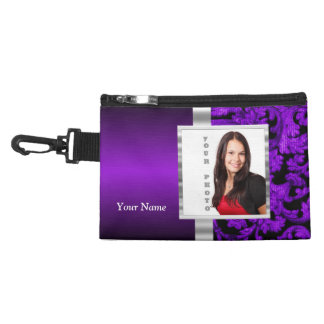 Black and purple floral damask template accessory bag