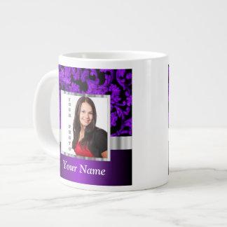 Black and purple floral damask template giant coffee mug