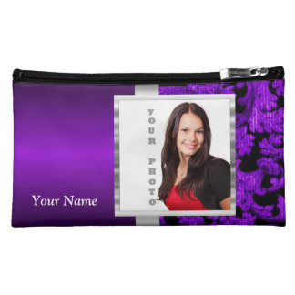Black and purple floral damask template makeup bag