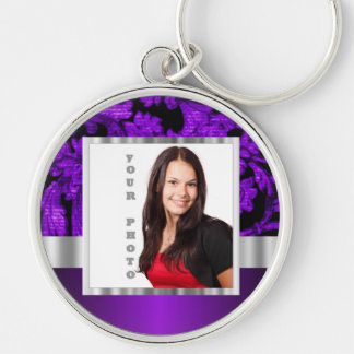 Black and purple floral damask template Silver-Colored round keychain