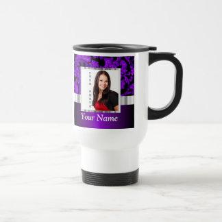 Black and purple floral damask template travel mug