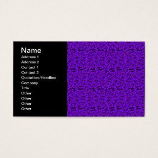 Black and Purple Floral Swirly Pattern Business Card