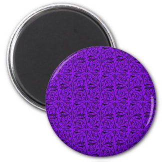 Black and Purple Floral Swirly Pattern Magnet