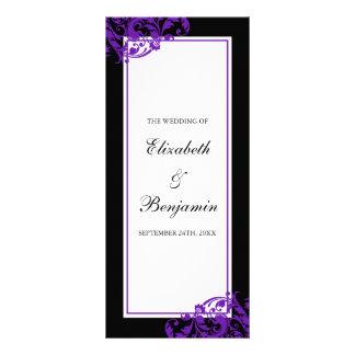 Black and Purple Flourish Swirls Wedding Program