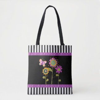 Black and  Purple Folk Flowers Tote Bag