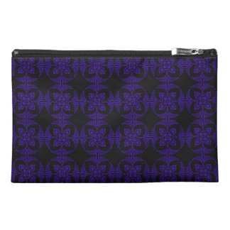 Black and Purple Geometric Floral Pattern Travel Accessories Bag