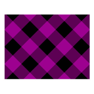 Black and Purple Gingham Pattern Postcard