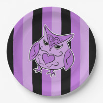Black and purple girly owl on stripes paper plate