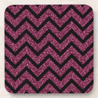 Black and Purple Glitter Chevron Stripes Pattern Coaster