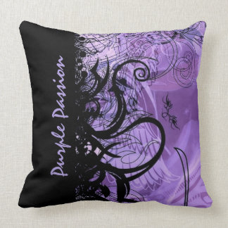 Black and Purple Goth Pattern Throw Pillow