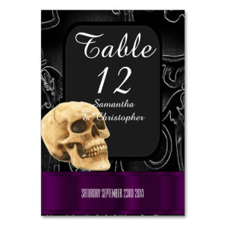 Black and purple Gothic fantasy skull Table Number