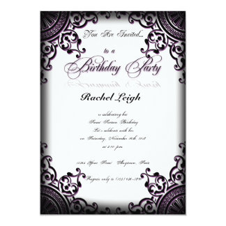 Black and Purple Gothic Scroll Birthday Invitation