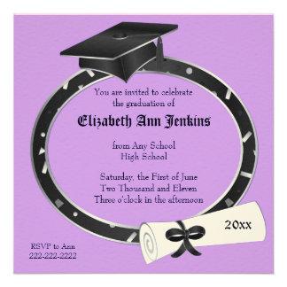Black and Purple Graduation Party Invitation