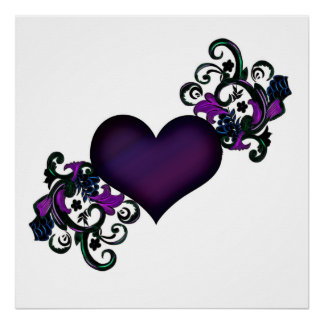 Black and Purple Heart with Floral Swirl Edges Poster