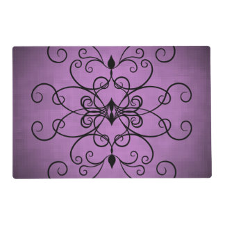 Black and purple hearts and swirls placemat