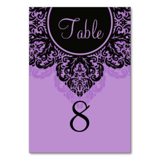 Black and purple lacy damask Table Number Card