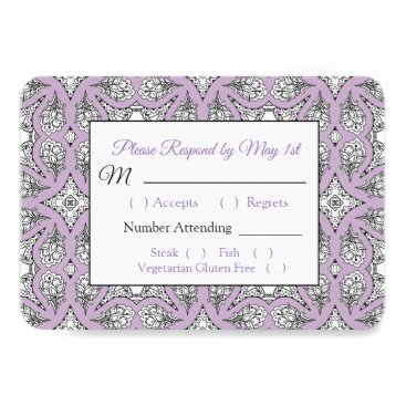 Wedding Themed Black and Purple  Mandala Wedding RSVP card