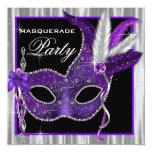 """Black and Purple Masquerade Party 5.25"""" Square Invitation Card"""