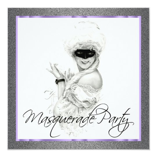 Black and Purple Masquerade Party Invitations