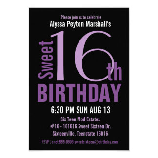Black and Purple Modern Text Sweet 16th Party Card