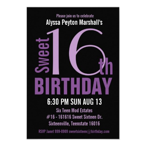 Black and Purple Modern Text Sweet 16th Party Personalized Invite