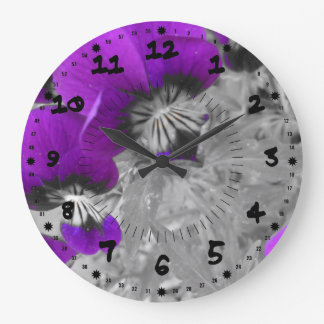 Black and Purple Pansy Effect Large Clock