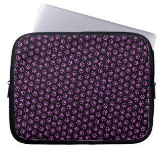 Black and purple paw print animal track pattern computer sleeve