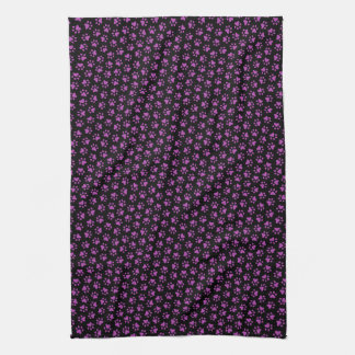 Black and purple paw print animal track pattern hand towel