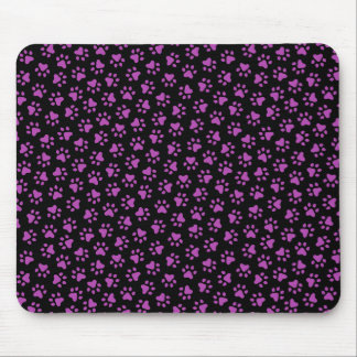 Black and purple paw print animal track pattern mouse pad