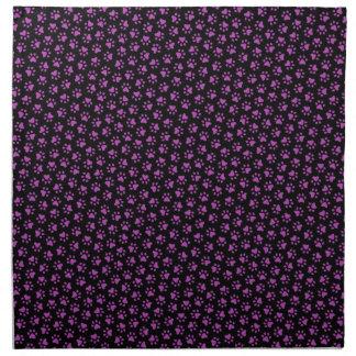 Black and purple paw print animal track pattern napkin