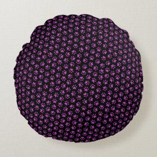 Black and purple paw print animal track pattern round pillow